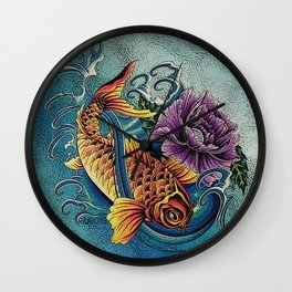 Golden Koi Wall Clock