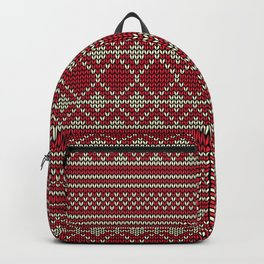Knitted sweater pattern in red and beige Backpack