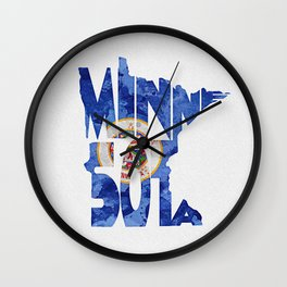 Minnesota Typographic Flag Map Art Wall Clock