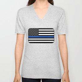 Thin Blue Line American Flag Unisex V-Neck