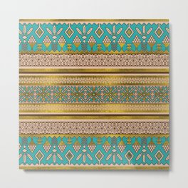 Mexican Style pattern - teal, gold and earthy colors Metal Print