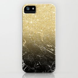 Modern girly luxurious faux gold glitter black marble pattern iPhone Case