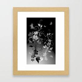 Black and White leaves and swirls Framed Art Print