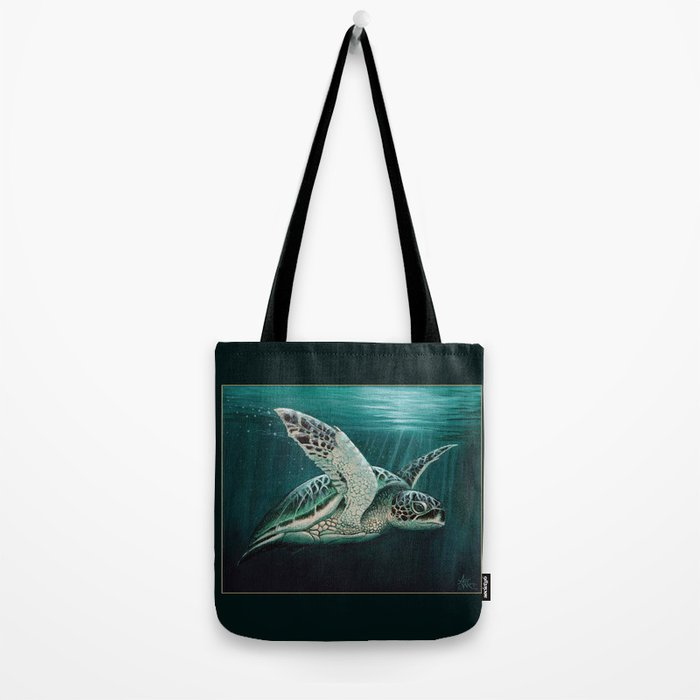 """""""Moonlit"""" by Amber Marine - Sea Turtle, Acrylic Painting, (Copyright 2015) Tote Bag"""