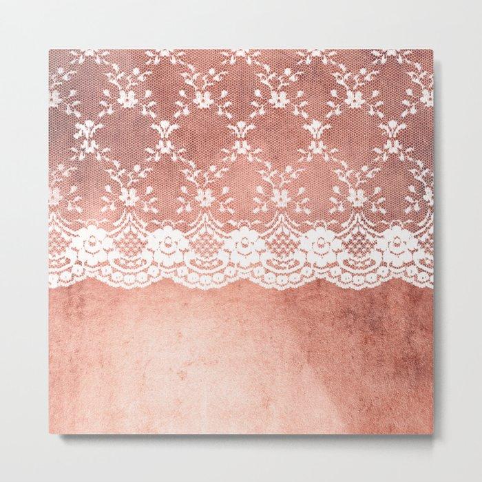 White floral luxury lace on pink rosegold grunge backround Metal Print