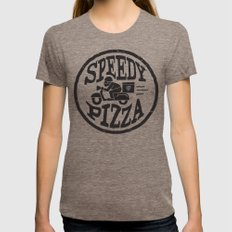 Speedy Pizza LARGE Womens Fitted Tee Tri-Coffee