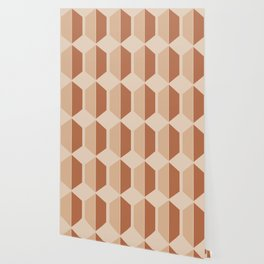 Hexagonal Pattern VII Terracotta Wallpaper