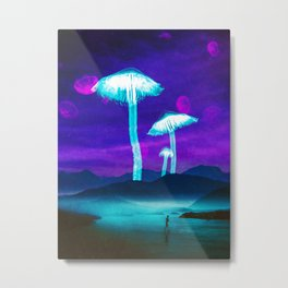 Glowy Shrooms Metal Print