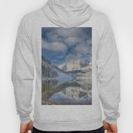 Maroon Bells Reflection In The Maroon Lake With Fresh Snow Aspen Colorado Usa for #society6 Hoody