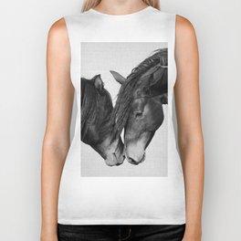 Horses - Black & White 4 Biker Tank