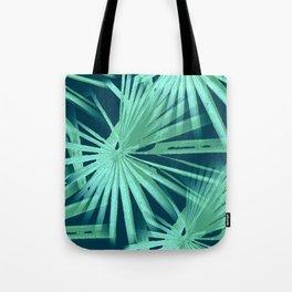 Aqua on Teal Tropical Vibes Beach Palmtree Vector Tote Bag