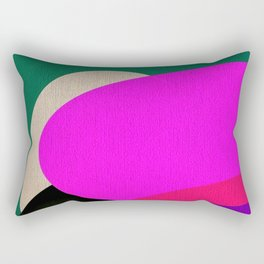 Abstract Composition in Green and Fuchsia Rectangular Pillow