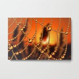 Web of Liquid Gold Metal Print