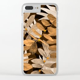 Midnight Leaf Gold Clear iPhone Case