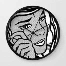 Crying-Girl02 B&W Wall Clock