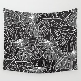B&W Philodendron Wall Tapestry
