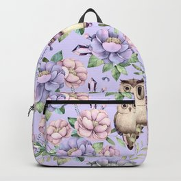 Hand painted blush pink lavender watercolor owl floral Backpack