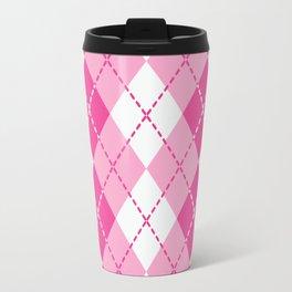Argyle Design in Pink and White Travel Mug
