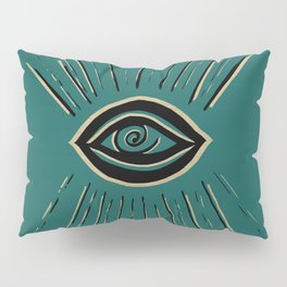 Evil Eye Gold Black on Teal #1 #drawing #decor #art #society6 Pillow Sham