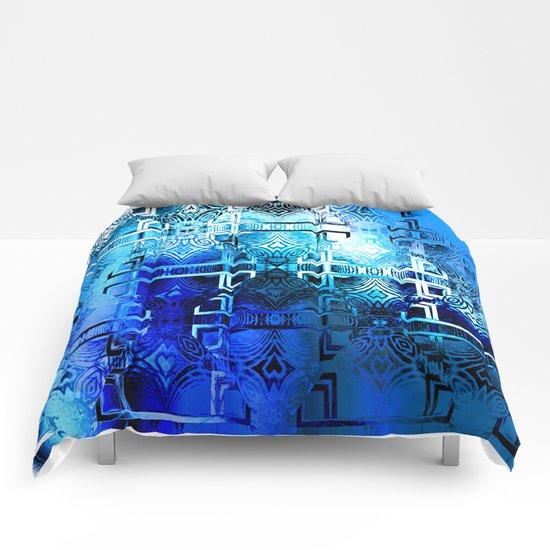 1001 Lights Pattern (azure-lapis-sky) Comforters