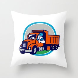 Dump Truck Driver Thumbs Up Circle Cartoon Throw Pillow