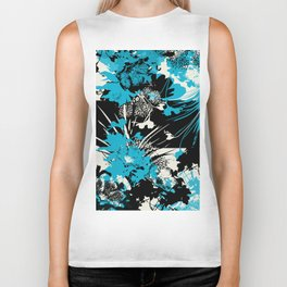 tropical flower silhouettes in sky blue Biker Tank