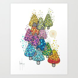 Bosque de pinos magicos Art Print