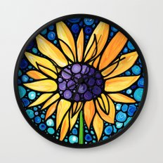 Standing Tall - Sunflower Art By Sharon Cummings Wall Clock