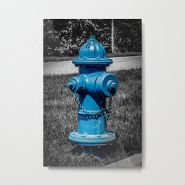 Firefightn' Blues Selective Color Fire Hydrant Fire Plug Metal Print