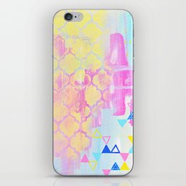 Abstract Mix - Lemon Yellow, Magenta & Turquoise iPhone Skin