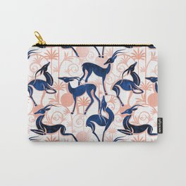 Deco Gazelles Garden // white background navy animals and rose metal textured decorative elements Carry-All Pouch