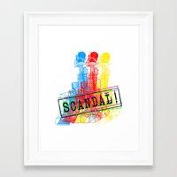 scandal Framed Art Prints featuring Scandal Scandal Scandal by Genco Demirer