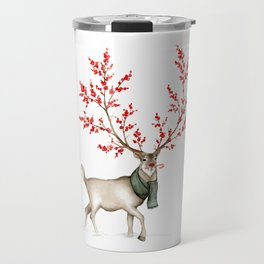 Rudolph the Winterberry Antler'd Reindeer Travel Mug