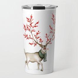 Rudolph the Winterberry Antler'd Reindeer Travel Mug