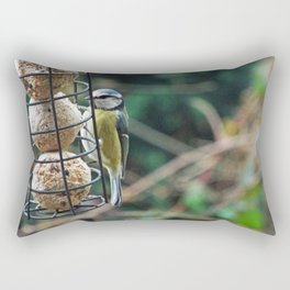 Blue tit eating in my garden Rectangular Pillow