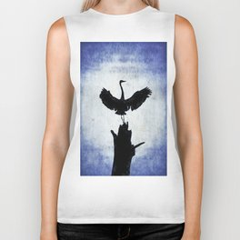 Blue Heron with Wings Spread Biker Tank