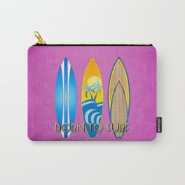 Pink Born To Surf Carry-All Pouch