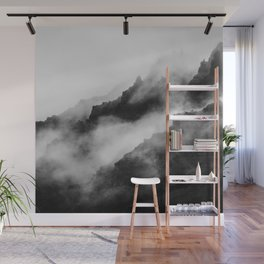 Foggy Mountains Black and White Wall Mural