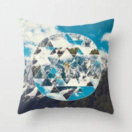 Shri Yantra in the Mountains Throw Pillow