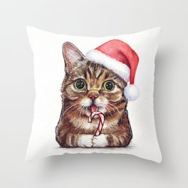 Christmas Cat in Santa Hat Whimsical Holiday Animals Throw Pillow