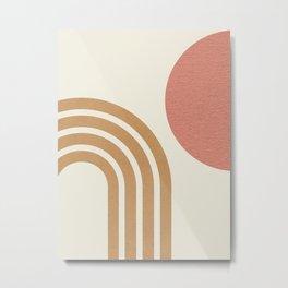 Mid century modern pink Sun & Rainbow Metal Print