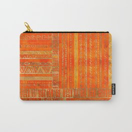 Tribal Ethnic pattern gold on bright orange Carry-All Pouch