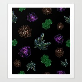 Crystals on Scratchboard Art Print