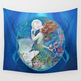 Sensual Art Deco Pearl Mermaid Wall Tapestry