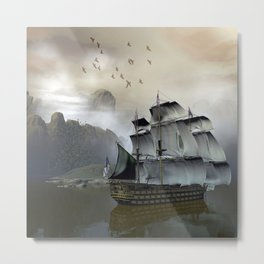 Old Sail Ship Metal Print