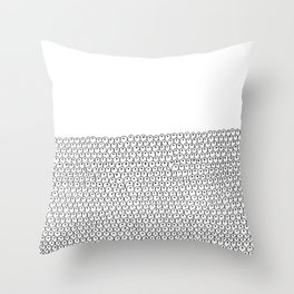 simple black and white doodle scaley pattern Throw Pillow