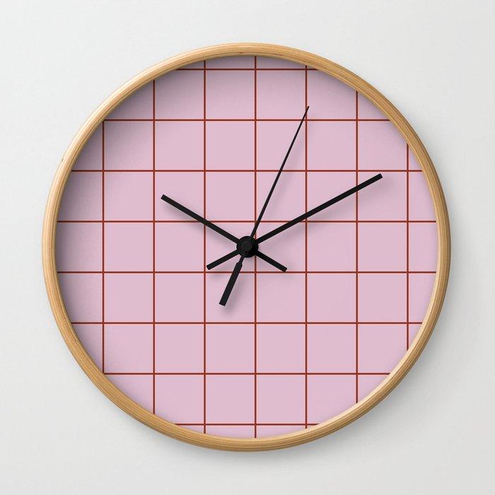 Citymap Grid - Lilac/Rust Wall Clock