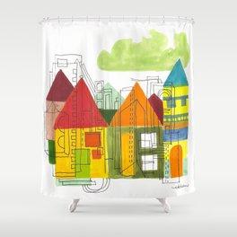 Little Block Town Shower Curtain