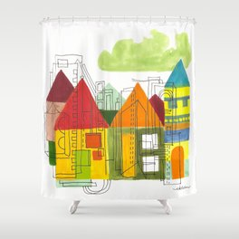 Little Block Town Shower Curtain