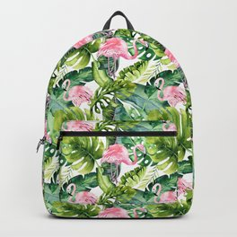 Pink green watercolor flamingo tropical monster leaves Backpack